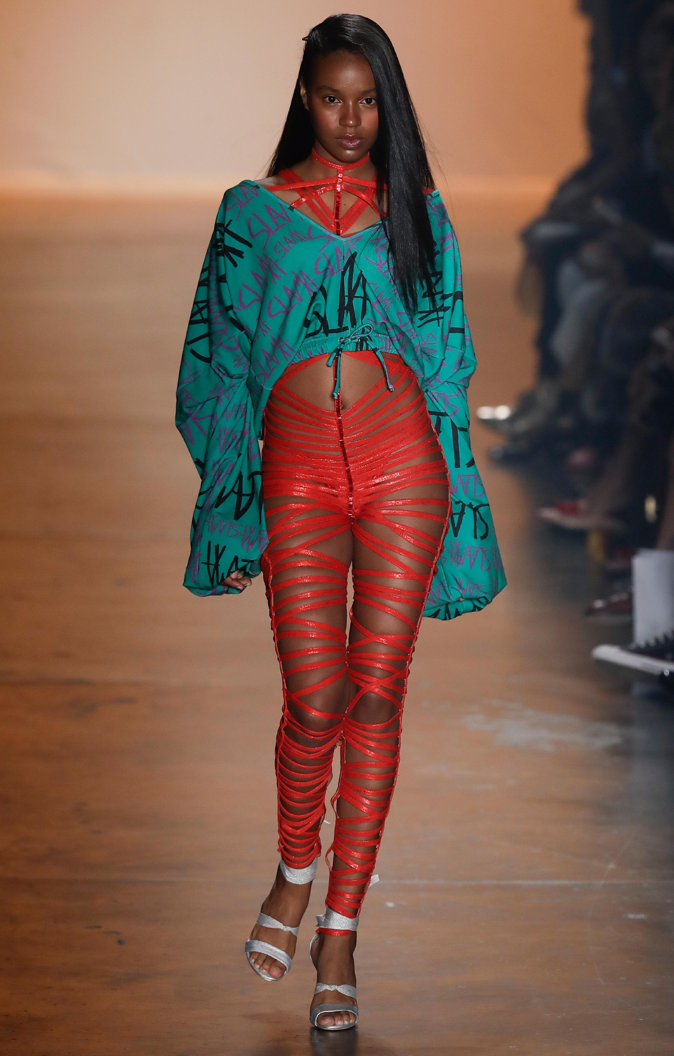 A model wears a creation from the Amir Slama collection during Sao Paulo Fashion Week in Sao Paulo, Brazil, Thursday, March 16, 2017. (AP Photo/Andre Penner)