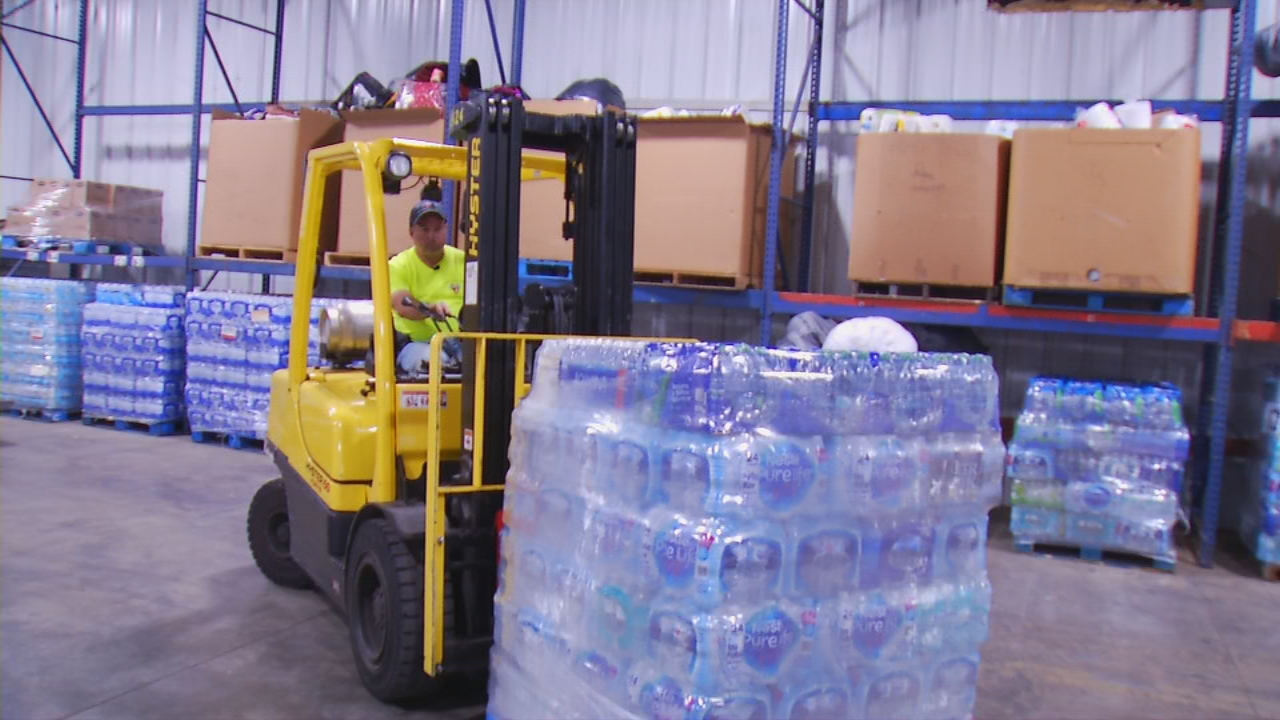 Water supplies prepped for hurricane ravaged areas.  (Photo credit: WLOS Staff)