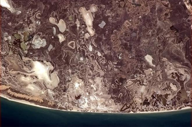 This section of the Gulf coast looks like the inspiration for Aztec art. (Photo & Caption: Col. Chris Hadfield, NASA)