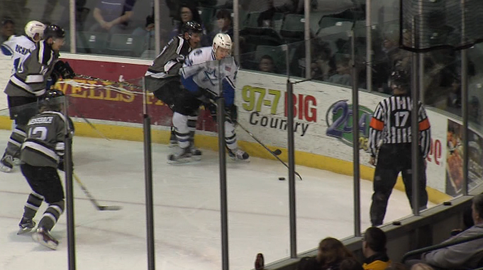 Jace Foskey tries to steal the puck from an opponent during a game with the Tri-City Storm. (NTV News)
