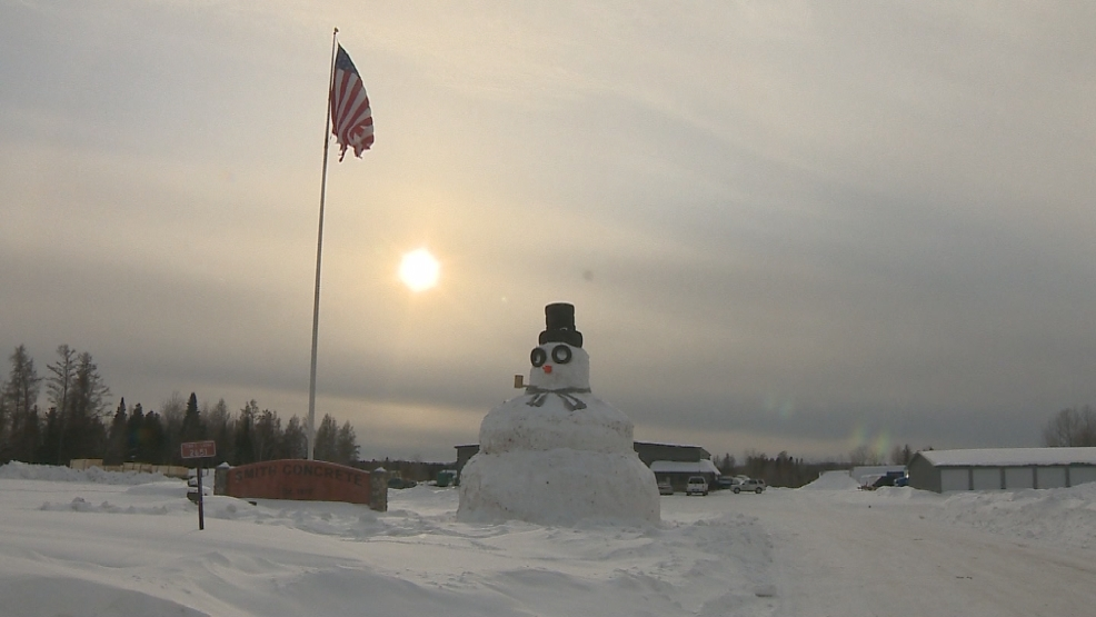 A man, his family and his coworkers built this 34-foot tall snow man in Wabeno, WI.