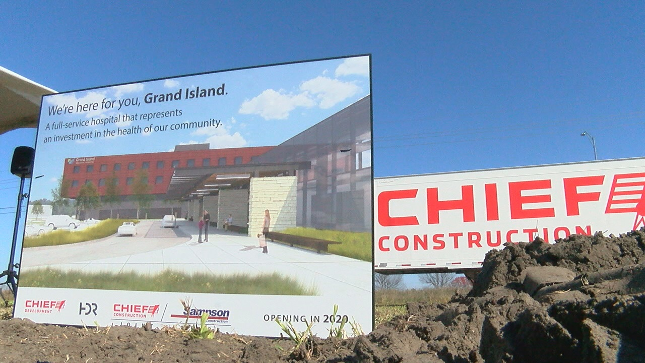 A drawing of Grand Island Regional Hospital sits next to the spot where ceremonial groundbreaking was held in October 2017 (NTV News)