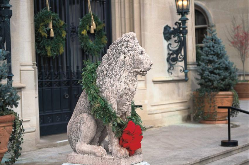 Lion statue in front of Biltmore House. (Photo Credit: The Biltmore Company)<p></p>