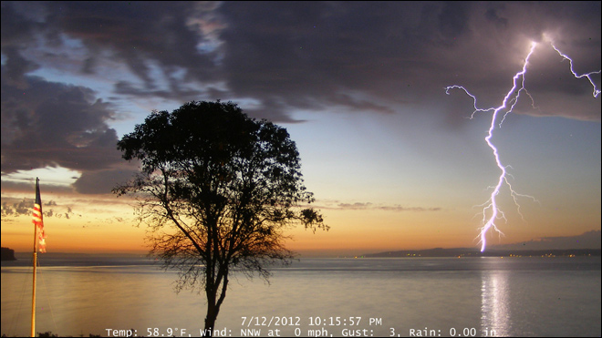 Lightning strike over Whidbey Island on July 12, 2012. (Photo: Greg Johnson, SkunkBayWeather.com)