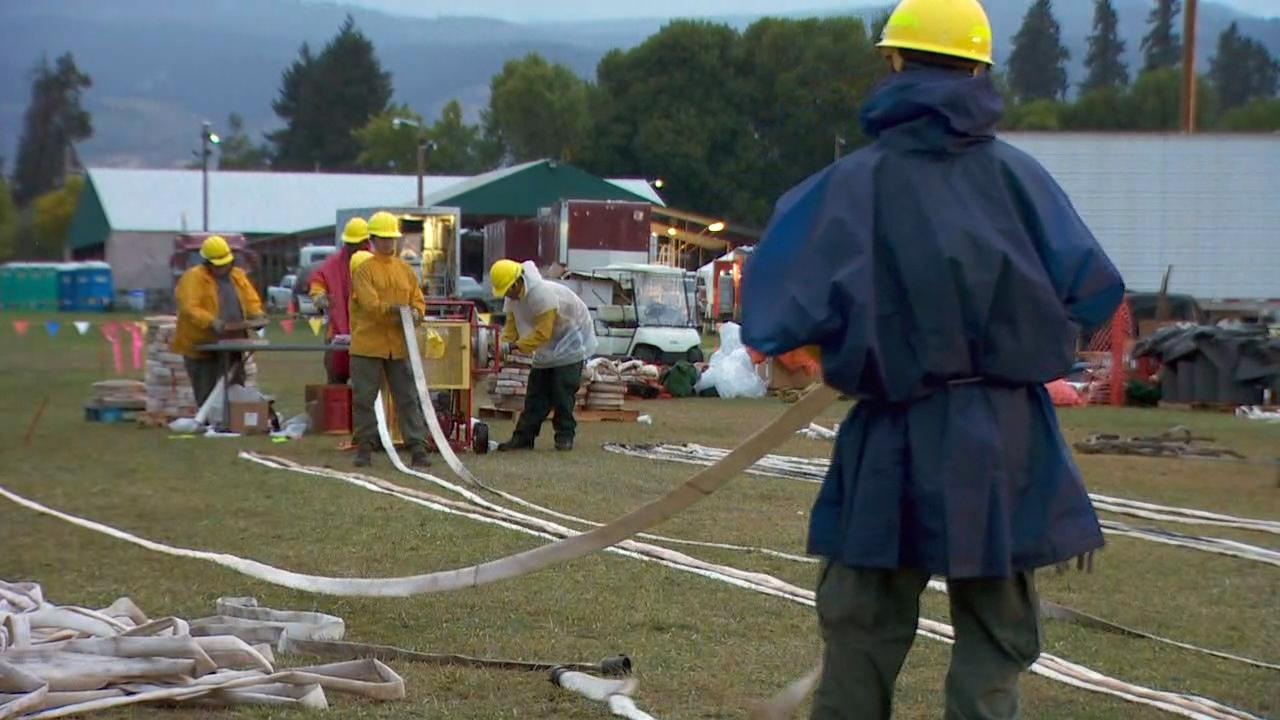 Fire crews pack up at the base camp in Odell, Oregon on Monday, Sept. 18, 2017. Officials say, due to the rain, fewer resources are needed to fight the Eagle Creek Fire. (KATU Photo)