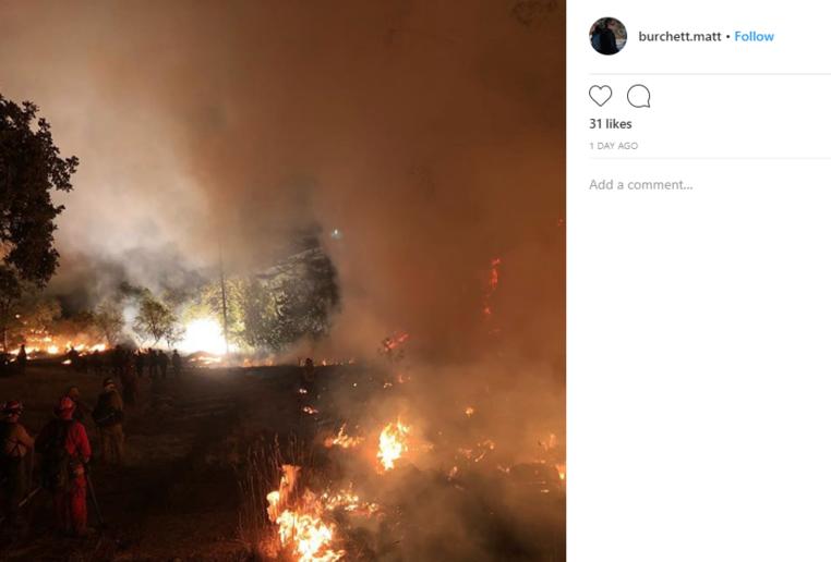 Burchett posted a series of Instagram photos from his deployment to the Mendocino Complex Fire in Northern California, one of the largest wildfires in that state's history. (Photo: Matt Burchett via Instagram)