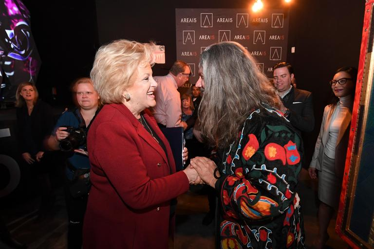 Las Vegas Mayor Carolyn Goodman is greeted by artist Matt Elson during an event announcing the establishment of Area 15, a curated retail, dining and immersive entertainment venue, Thursday, January 18, 2018. CREDIT: Sam Morris/Las Vegas News Bureau