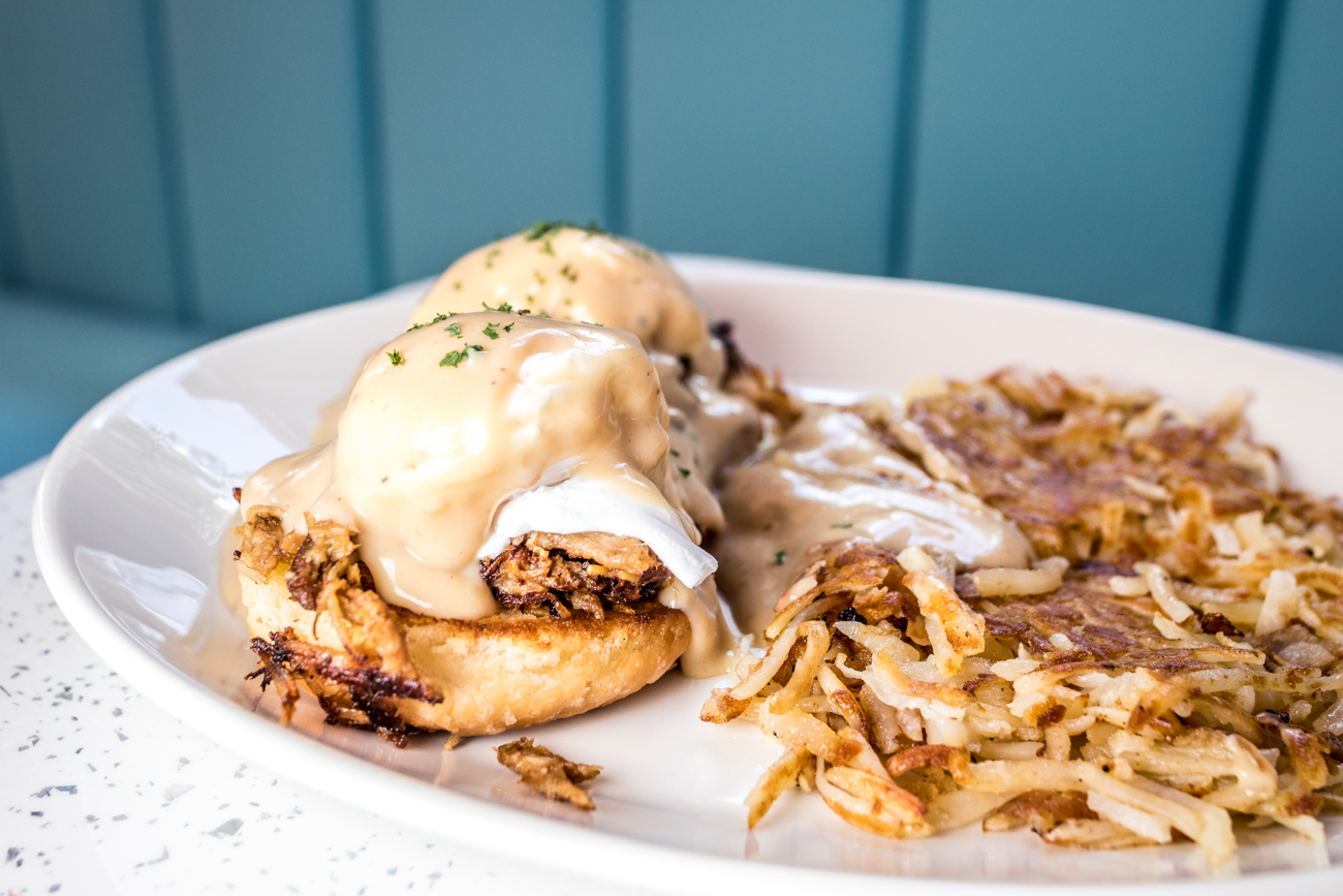Shredded pork biscuits and gravy with hash browns / Image: Catherine Viox{ }// Published: 7.31.20