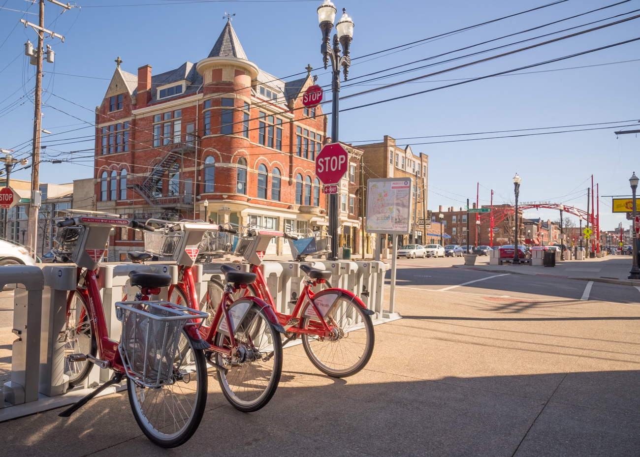 Cincinnati's bike share program, Red Bike, features two stations along Short Vine. / Image: Phil Armstrong, Cincinnati Refined // Published: 3.14.17