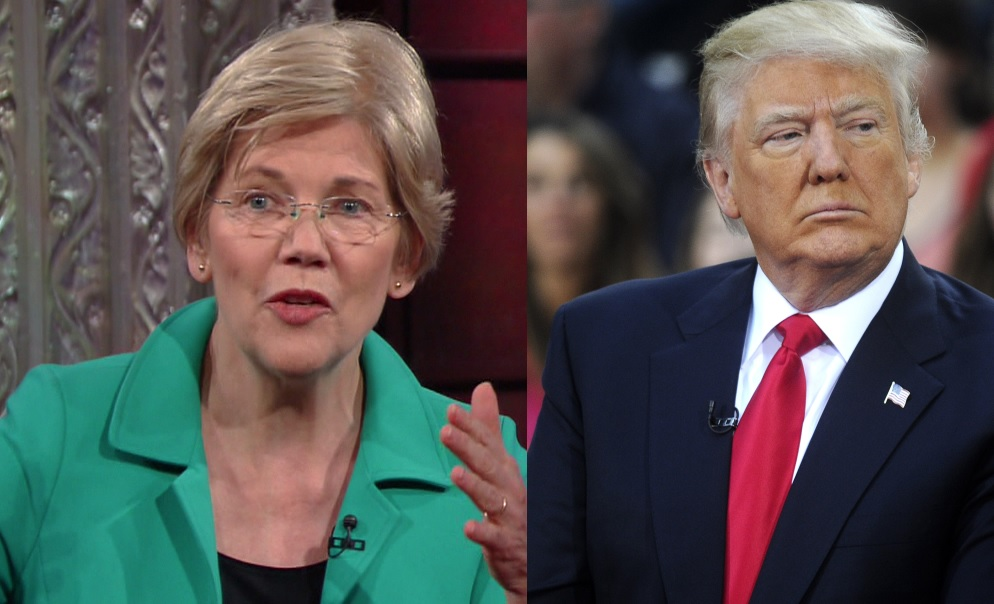 "LEFT: Sen. Elizabeth Warren, D-Mass., during an appearance on CBS's ""The Late Show with Stephen Colbert"" on March 31, 2016. (Supplied by WENN); RIGHT: Donald Trump appears on NBC's ""Today"" show at the Rockefeller Plaza in New York on April 21, 2016. (Dennis Van Tine/Future Image/WENN)"
