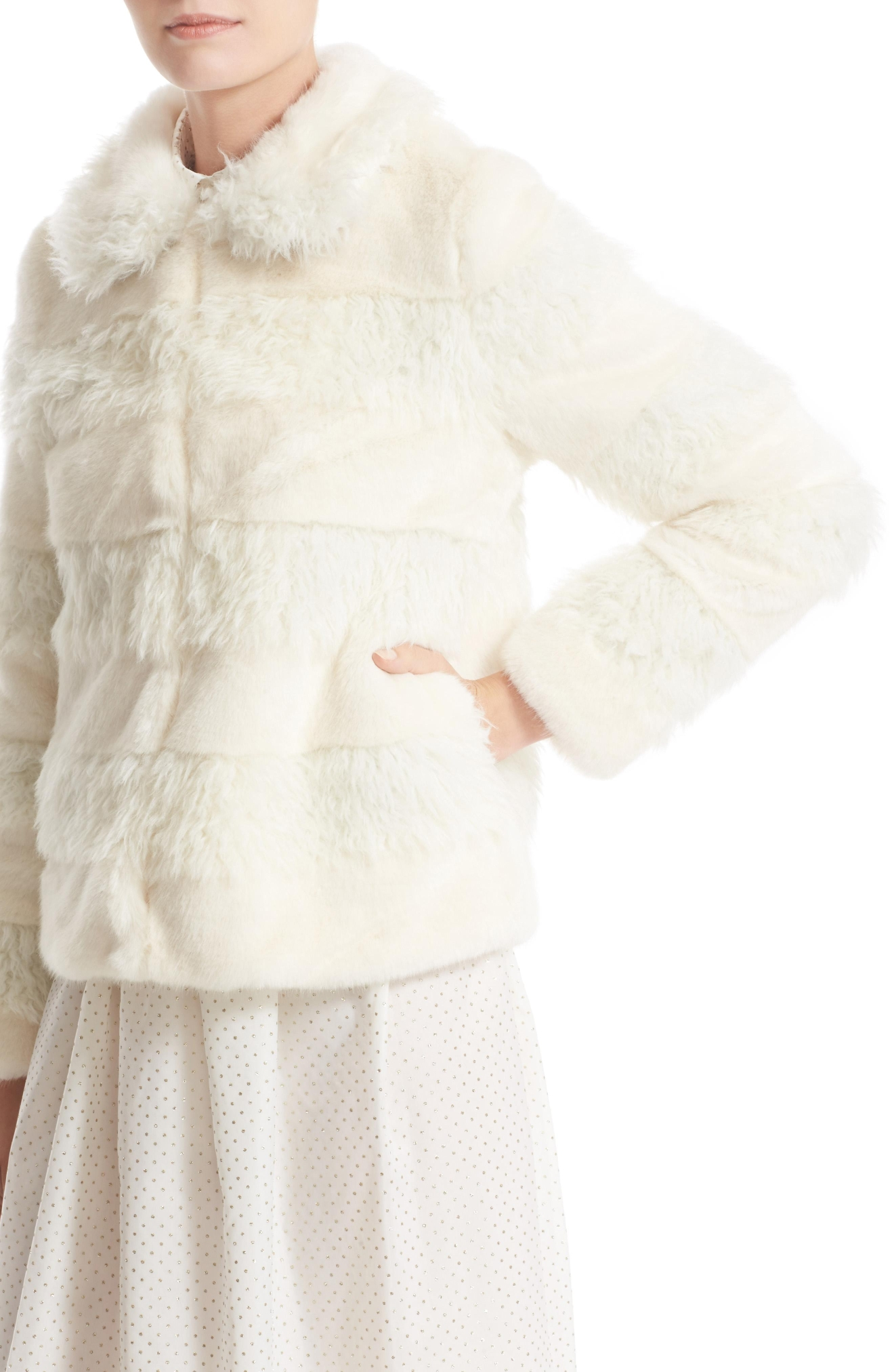 Shrimps Vertical Shearling Coat - $600. Get it at nordstrom.com/space. (Image: Nordstrom)