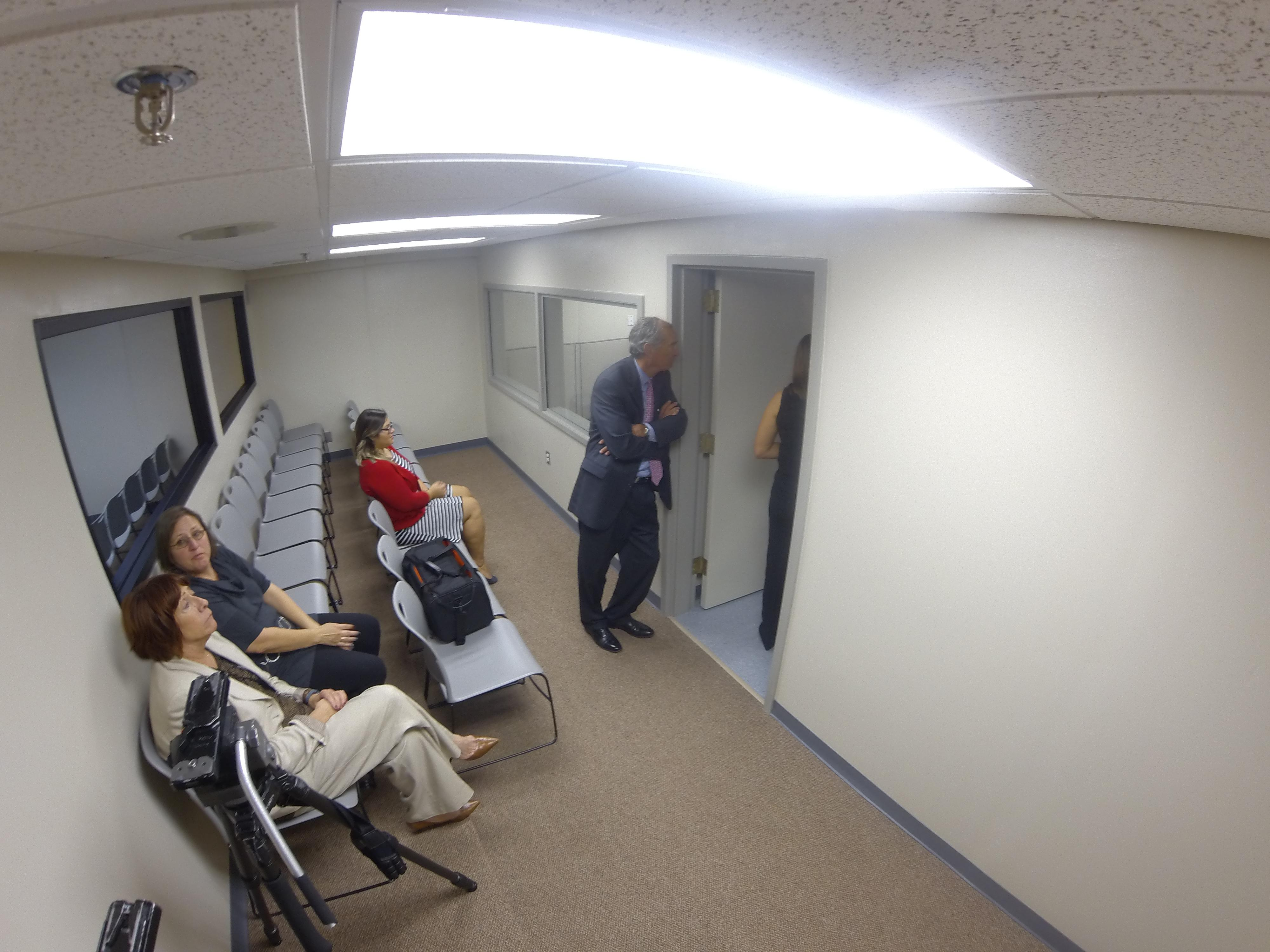 The viewing area of Oklahoma's death chamber from just inside the door. The room is smaller and now seats 7 fewer people after the remodel. (Keaton Fox/KOKH)