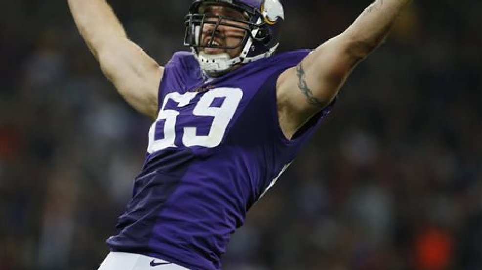 FILE - In this Sept. 29, 2013, file photo, Minnesota Vikings defensive end Jared Allen celebrates after sacking Pittsburgh Steelers quarterback Ben Roethlisberger during the first half of an NFL football game at Wembley Stadium in London. (AP Photo/Matt Dunham, File)
