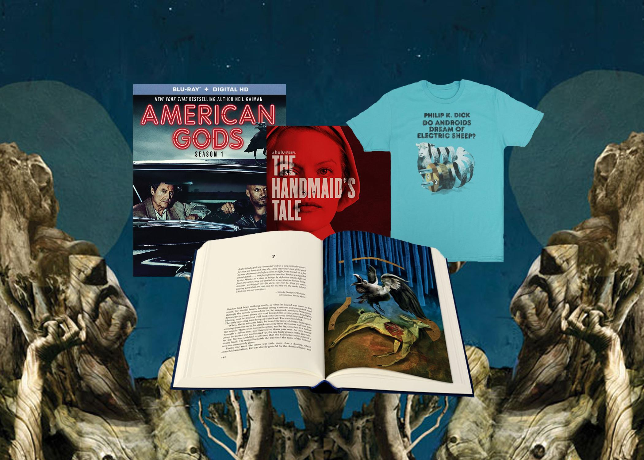 "American Gods: Season One (Starz) The Handmaid's Tale Soundtrack (Lakeshore Records) Do Androids Dream of Electric Sheep? (Out of Print Clothing) Book and background illustrations by Dave McKean from Neil Gaiman's ""American Gods"" (Photo: The Folio Society)  <p></p>"