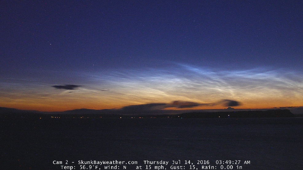 "Electric ""night shining"" clouds grace Puget Sound skies before sunrise"