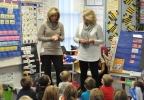 FOX 11's Michelle Melby speaks to Kerry Loppnow's kindergarten class at Heritage Elementary School in De Pere Oct. 25, 2016, to kick off the Golden Apple Awards nomination process.