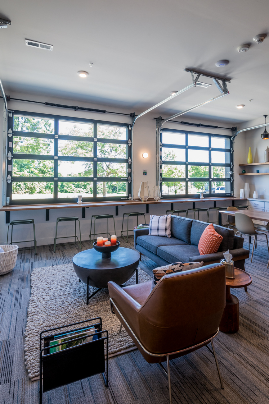 Community amenities for residents include a coffee and tea bar and a resident lounge with open WiFi. / Image: Catherine Viox // Published: 8.18.20
