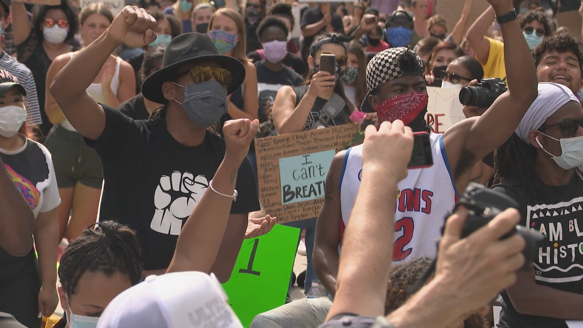 Vocal protesters marched through downtown Grand Rapids on June 3, 2020, advocating for change. (WWMT/Jason Heeres)