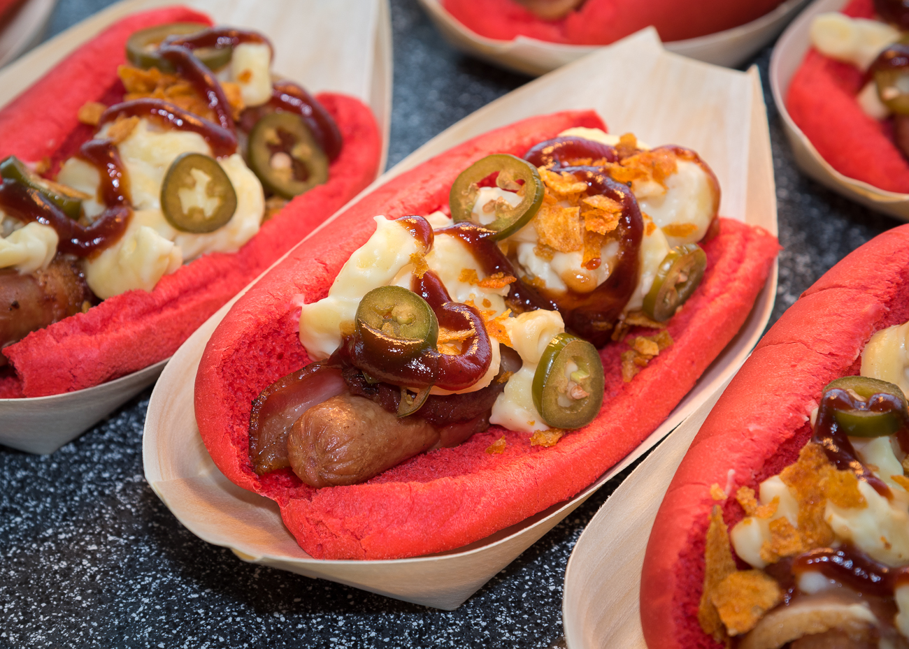 Mac & Cheese Dog: Bacon wrapped hot dog with sweet barbecue sauce, pickled jalapenos, and crushed Grippos (available in the Scout's Club) / Image: Phil Armstrong, Cincinnati Refined // Published: 3.21.19