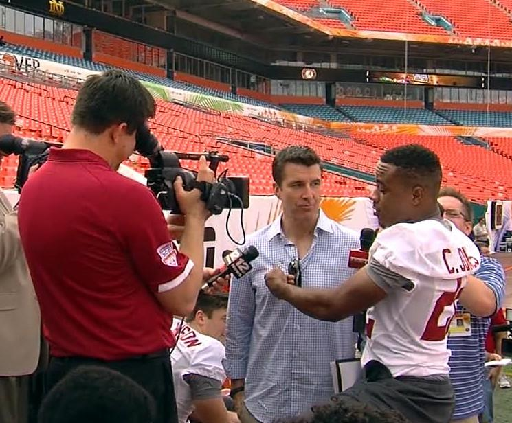 Alabama receiver Christion Jones interviews ESPN host Rece Davis on Saturday.