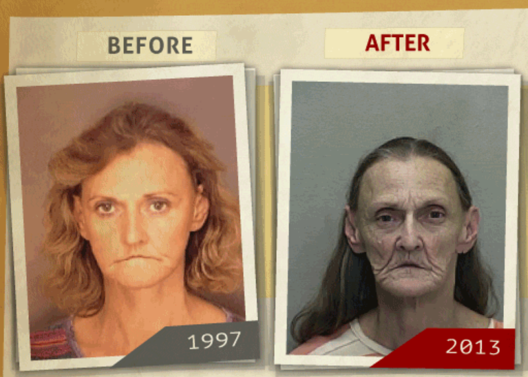 Side-by-side 1997 and 2013 photo taken of woman  who reportedly had a 'possession of Methamphetamine' charge. (Photo, info from rehabs.com/)