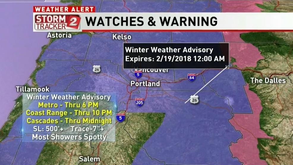Winter storm drops snow in places across W Oregon SW Washington KATU