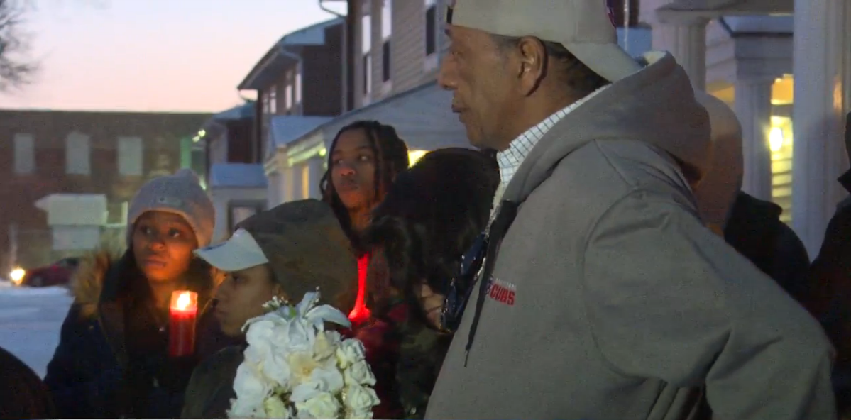 Friends and family hold vigil for teen South Bend shooting victim. // WSBT 22 photo