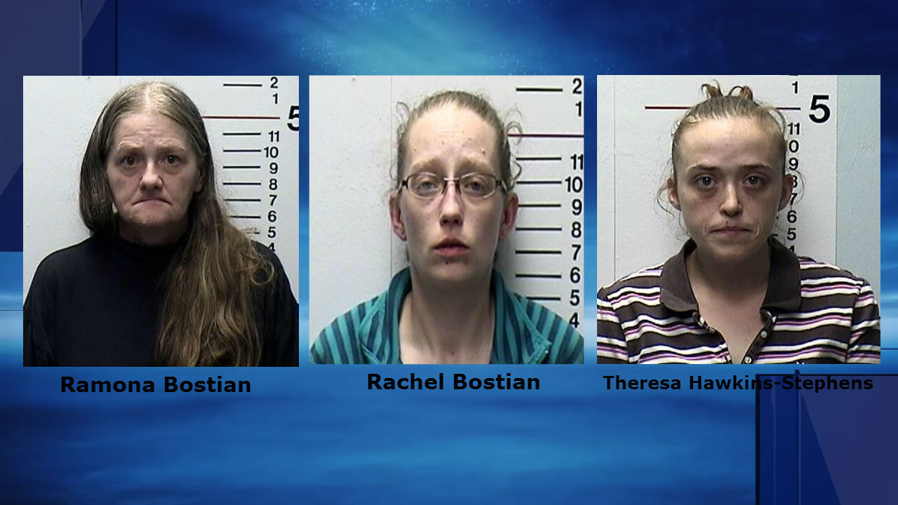 Suspects in Middletown beating. Ramona Bostian, left, Rachel Bostian, middle, Theresa Hawkins-Stephens, right.