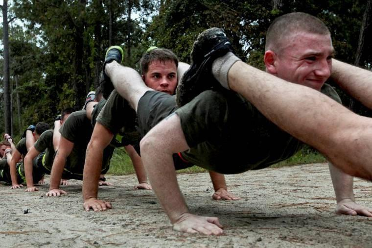 U.S. Marine Corps noncommissioned officers participate in an endurance course on Marine Corps Base Camp Lejeune, N.C. Marines and sailors participated in the course to increase readiness and esprit de corps.