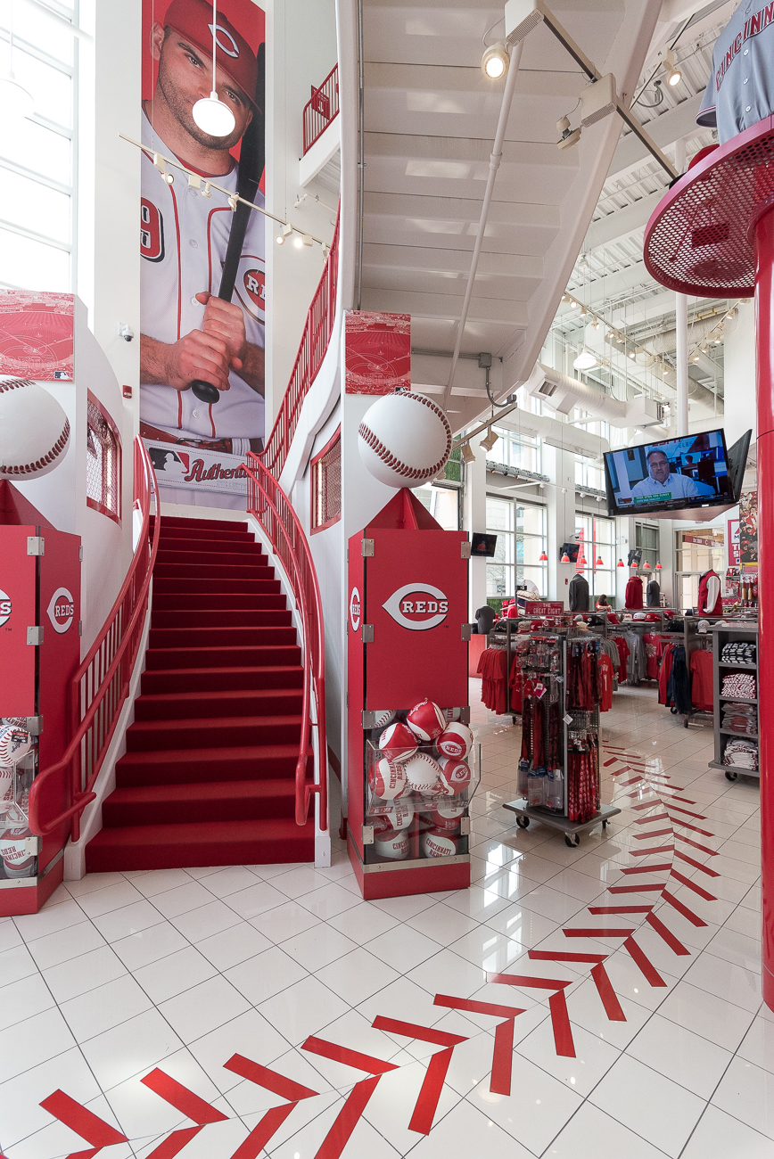 The museum conveniently empties out into the Reds store where you can purchase shirts, hats, and other branded products.{ }/ Image: Phil Armstrong, Cincinnati Refined // Published: 4.20.19