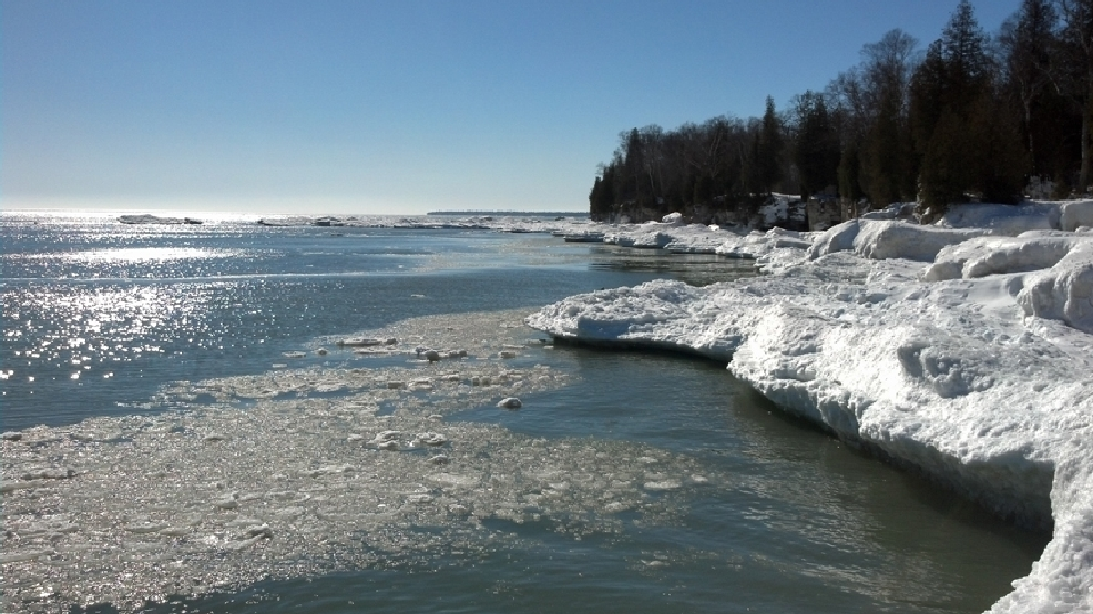 Cave Point County Park in Door County is covered in ice, Wednesday, Feb. 19, 2014. (WLUK/Eric Peterson)