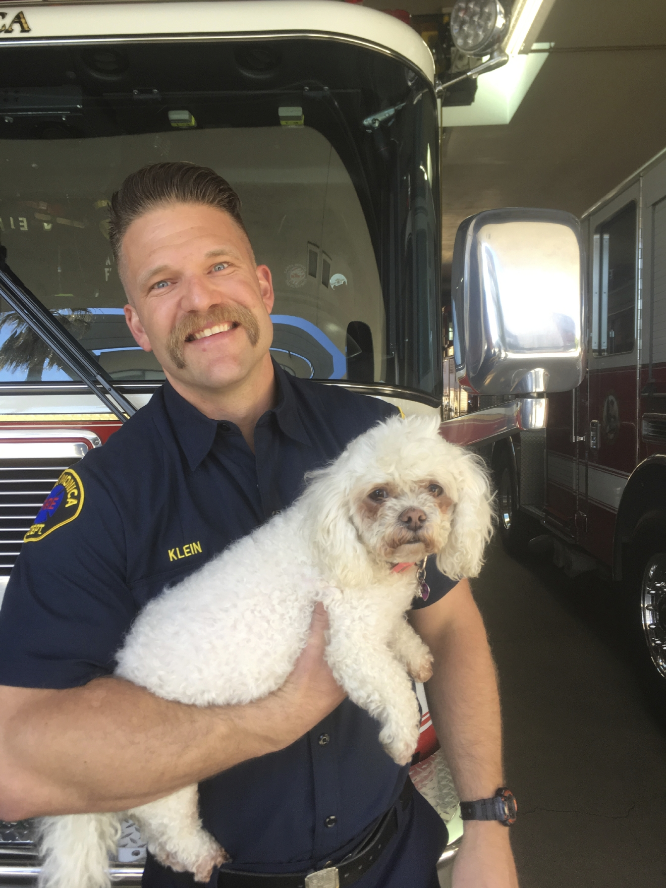 In this photo released by dog owner Crystal Lamirande, Santa Monica Firefighter Andrew Klein holds Nalu in Santa Monica, Calif., on Thursday, March 23, 2017. Klein spent several minutes giving mouth-to-snout resuscitation to the dog, who was pulled from a burning apartment in Santa Monica. (Crystal Lamirande via AP)