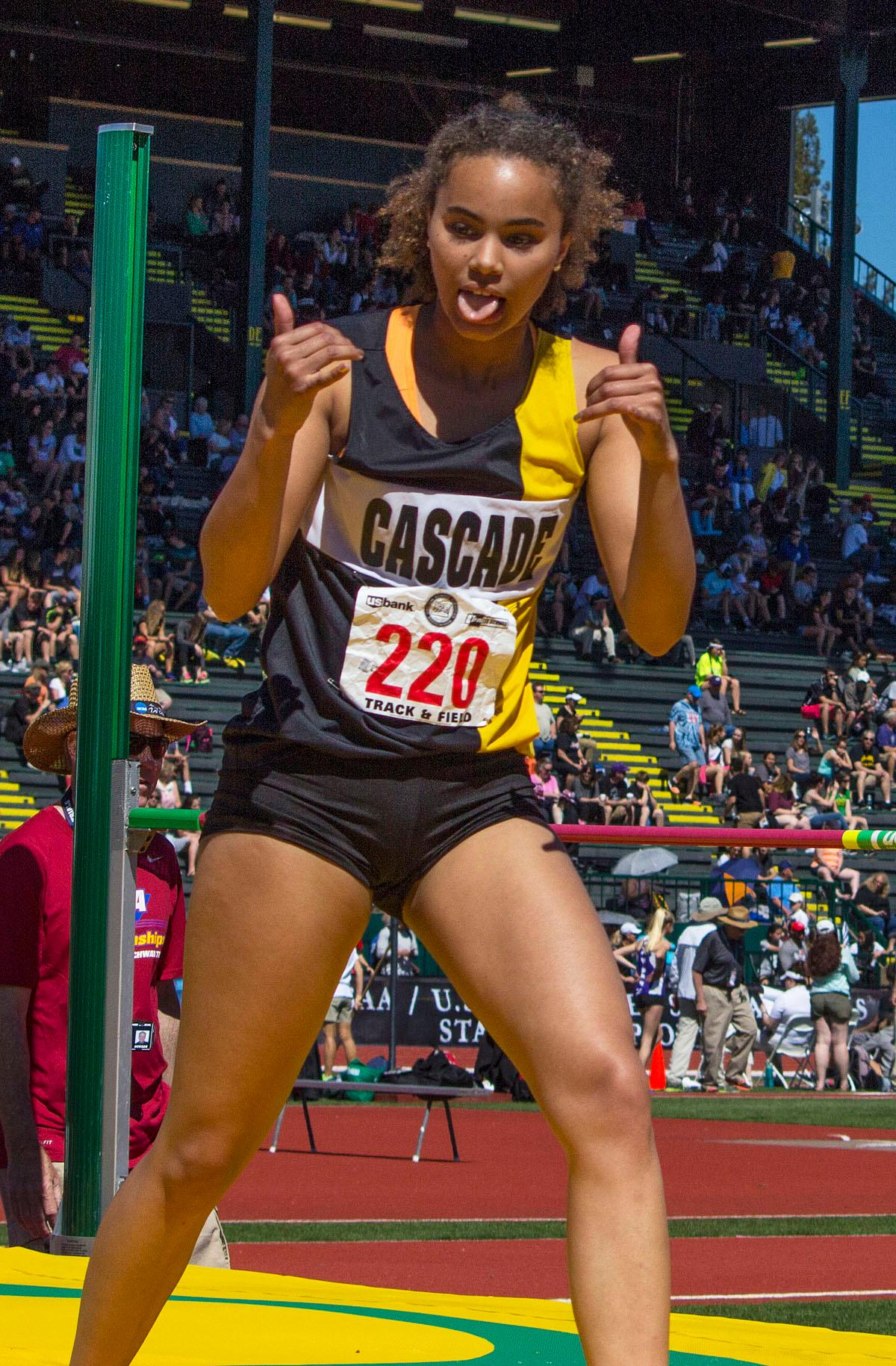 Kalulu Ngaida celebrates after clearing 5.03.00 in the 4A Girls High Jump at the OSAA Track and Field State Championships at Hayward Field. Photo by Nichole Louchios, Oregon News Lab.