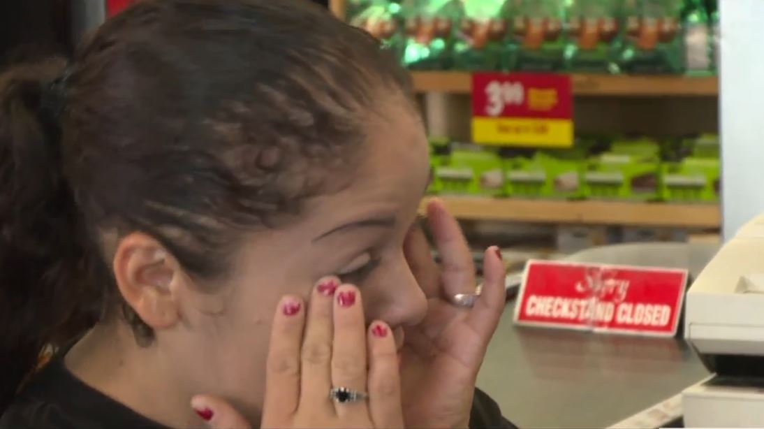 Gloria tears up when Liz tells her FOX26 and Grocery Outlet are paying for her grocereis