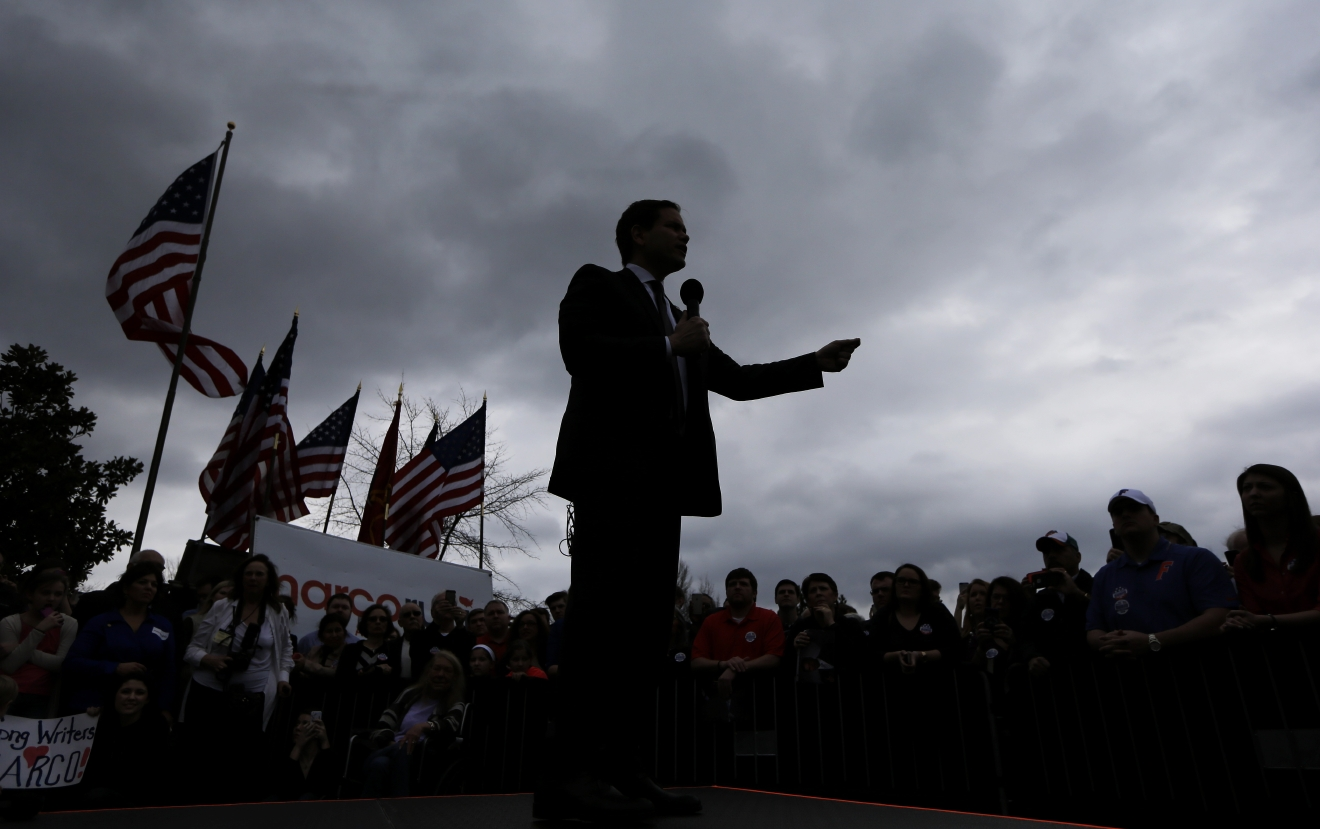 Republican presidential candidate Sen. Marco Rubio, R-Fla, speaks at a rally Sunday, Feb. 21, 2016, in Franklin, Tenn. (AP Photo/Mark Humphrey)