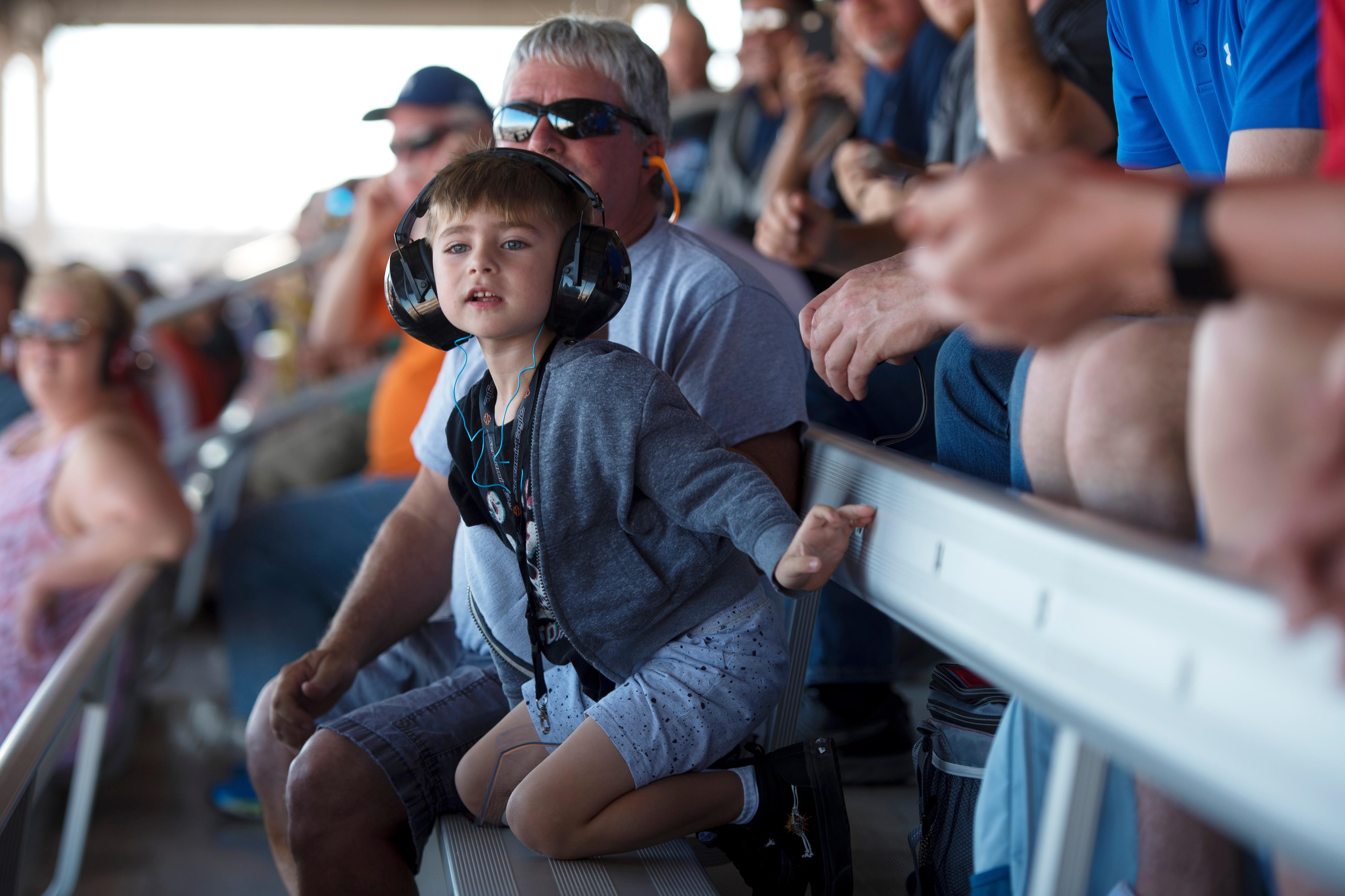 A young fan watches the action at the NHRA Toyota Nationals Sunday, October 29, 2017, at The Strip at the Las Vegas Motor Speedway. CREDIT: Sam Morris/Las Vegas News Bureau