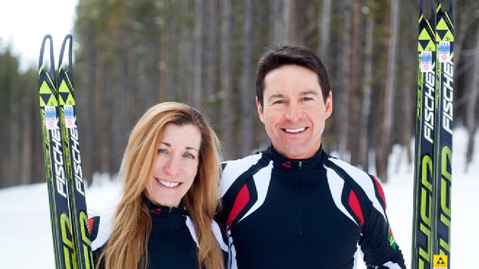 In this photo taken on Monday, Jan. 27, 2014, cross-country skiers Gary and Angelica di Silvestri pose for a photo at the Yellowstone Club in Big Sky, Mont. The American-born man and his Italian-born wife will be representing the tiny Caribbean island nation of Dominica at the Winter Olympics in Sochi next month. (AP Photo/Janie Osborne)