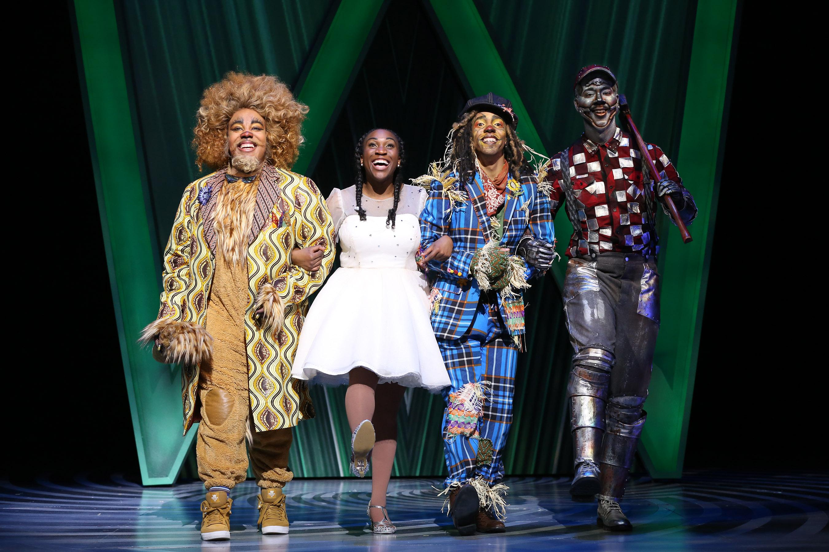 Christopher Michael Richardson (Lion), Issa Nassara (Dorothy), Hasani Allen (Scarecrow) and Kevin McAllister (TinMan) at Ford Theatre's production of THE WIZ directed by Kent Gash. (Image: Carol Rosegg)