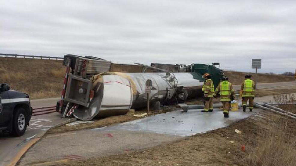 Firefighters work on an overturned milk truck in Fond du Lac, April 3, 2014. (Fond du Lac Fire Dept.)