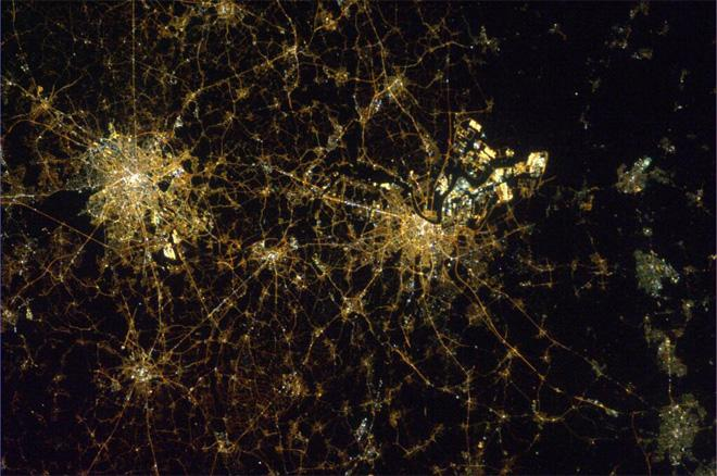 Night view of Brussels and Antwerp, Belgium from the ISS (Photo & Caption courtesy Koichi Wakata (@Astro_Wakata) and NASA)