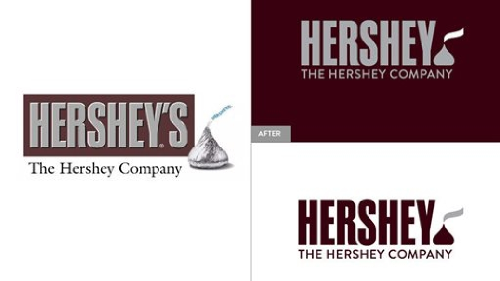 This image provided by The Hershey Company shows the company's old and new corporate logos. On Friday, Aug. 29, 2014, the candy maker announced a new design, which adds a Kisses chocolate at the end of the company's name. (AP Photo/The Hershey Company)