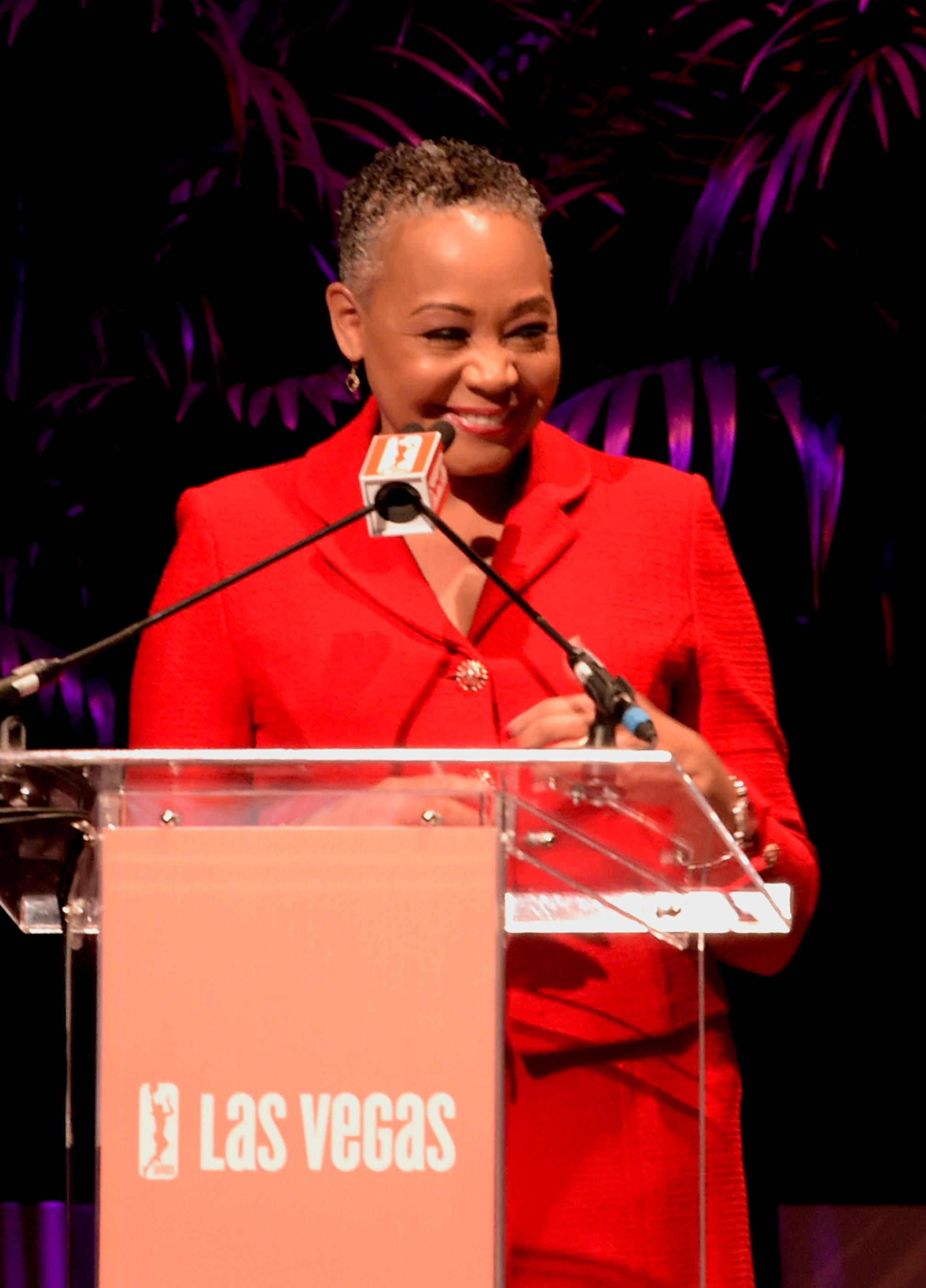 Lisa Borders President of the WNBA speaking at the press conference announcing the WNBA Las Vegas Aces as the newest professional sports franchise in Las Vegas at Mandalay Bay. Monday, December 11, 2017. CREDIT: Glenn Pinkerton/Las Vegas News Bureau