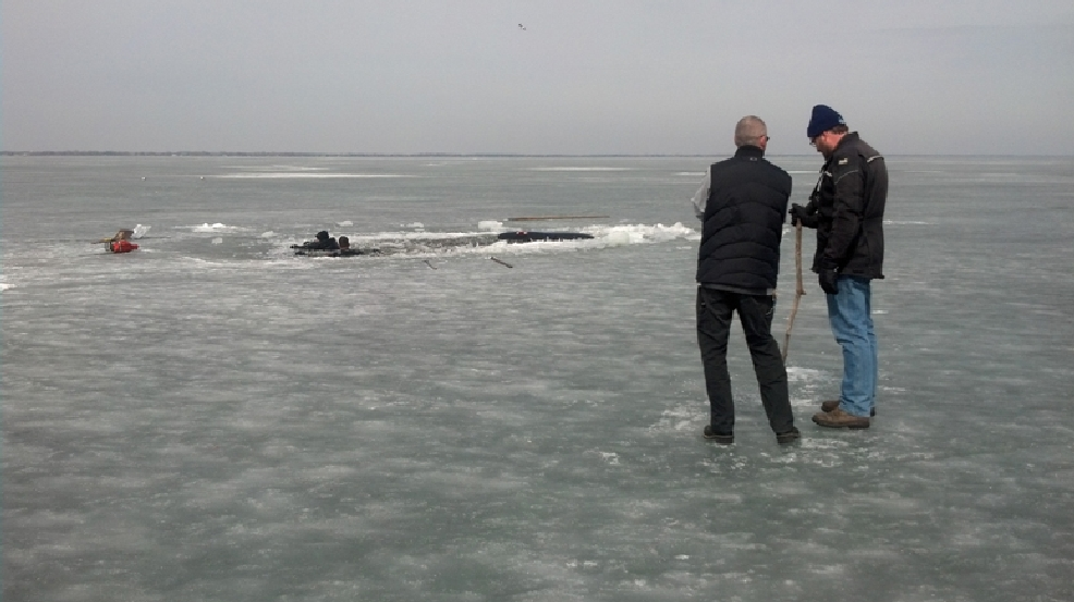 A truck submerged in Lake Winnebago near Fond du Lac, Monday, March 31, 2014. (WLUK/Eric Peterson)