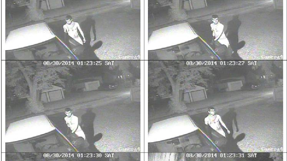 These still frames taken from surveillance video show a person who allegedly tried to break in to vehicles, then started a garage on fire in the 300 block of S. Chestnut Ave. in Green Bay, Aug. 30, 2014. (Green Bay Police Dept.)