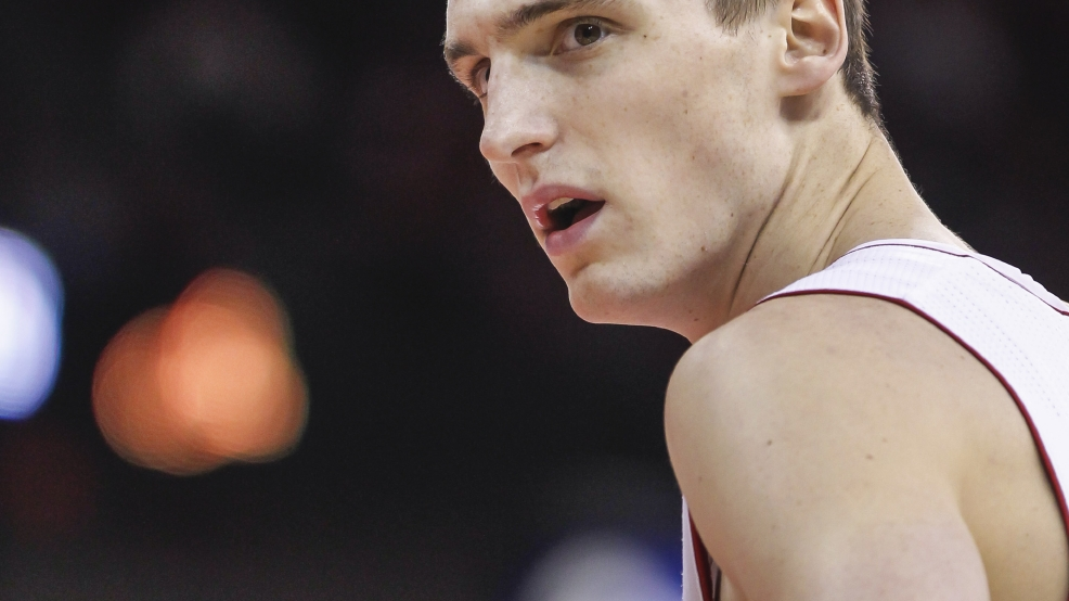Wisconsin forward Sam Dekker looks at a referee after being called for a foul against Ohio State during the first half of an NCAA college basketball game Saturday, Feb. 1, 2014, in Madison. (AP Photo/Andy Manis)