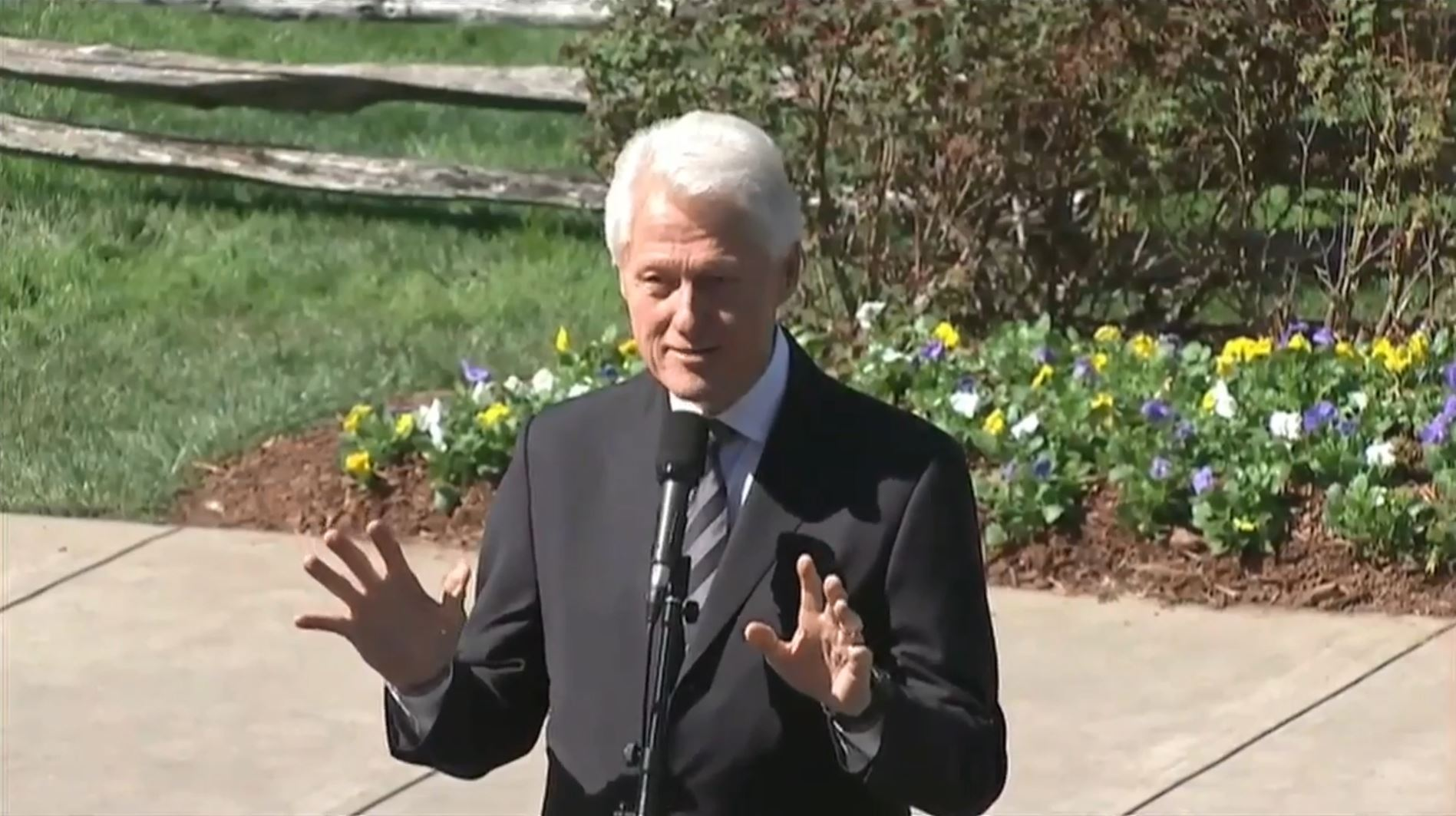 Former President Bill Clinton speaks after paying respects at Billy Graham's casket on Feb. 27, 2018, in Charlotte, North Carolina. (Photo credit: WSOC)