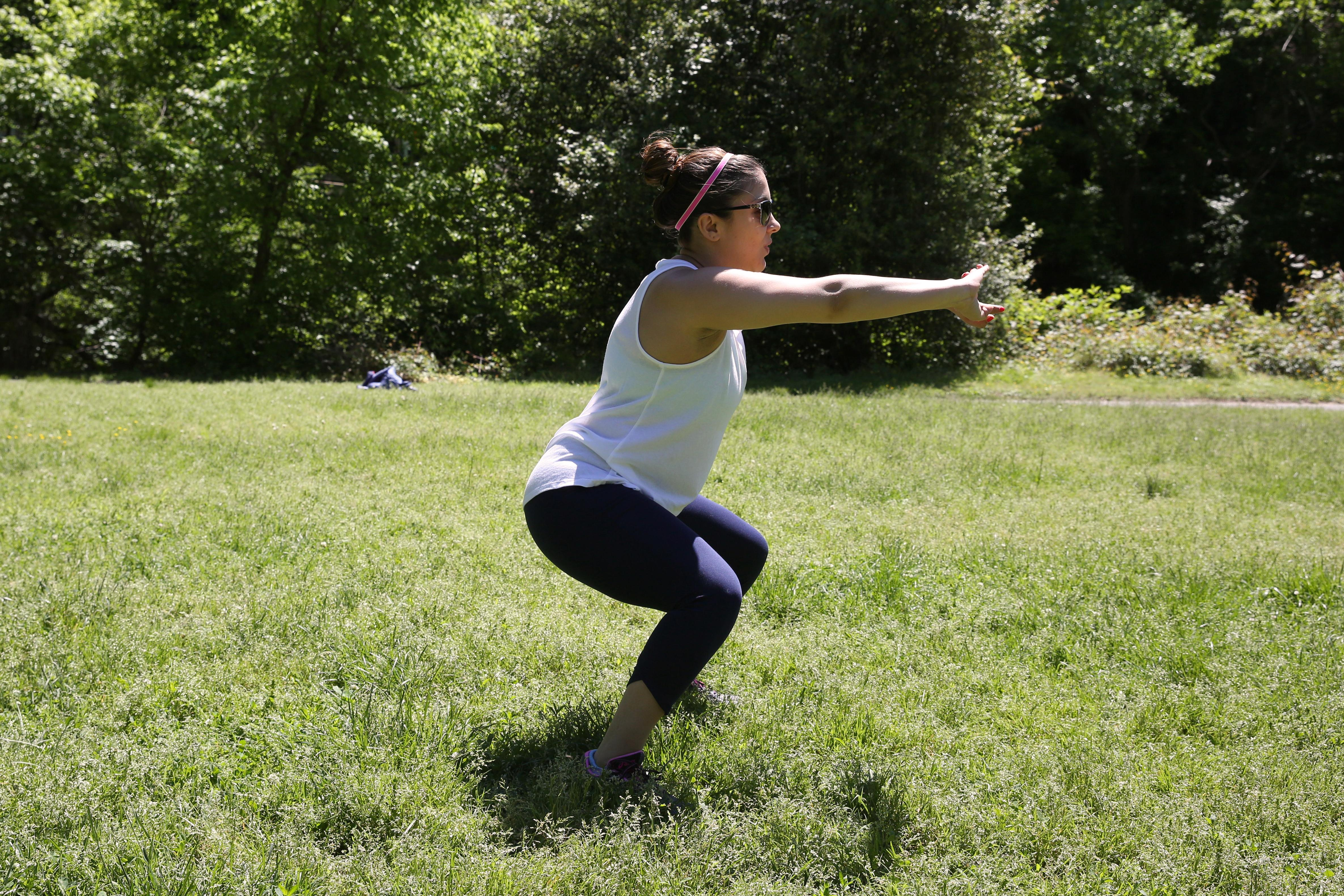 EXERCISE: Squats / SETS: 3 sets of 20 / (Amanda Andrade-Rhoades/DC Refined)