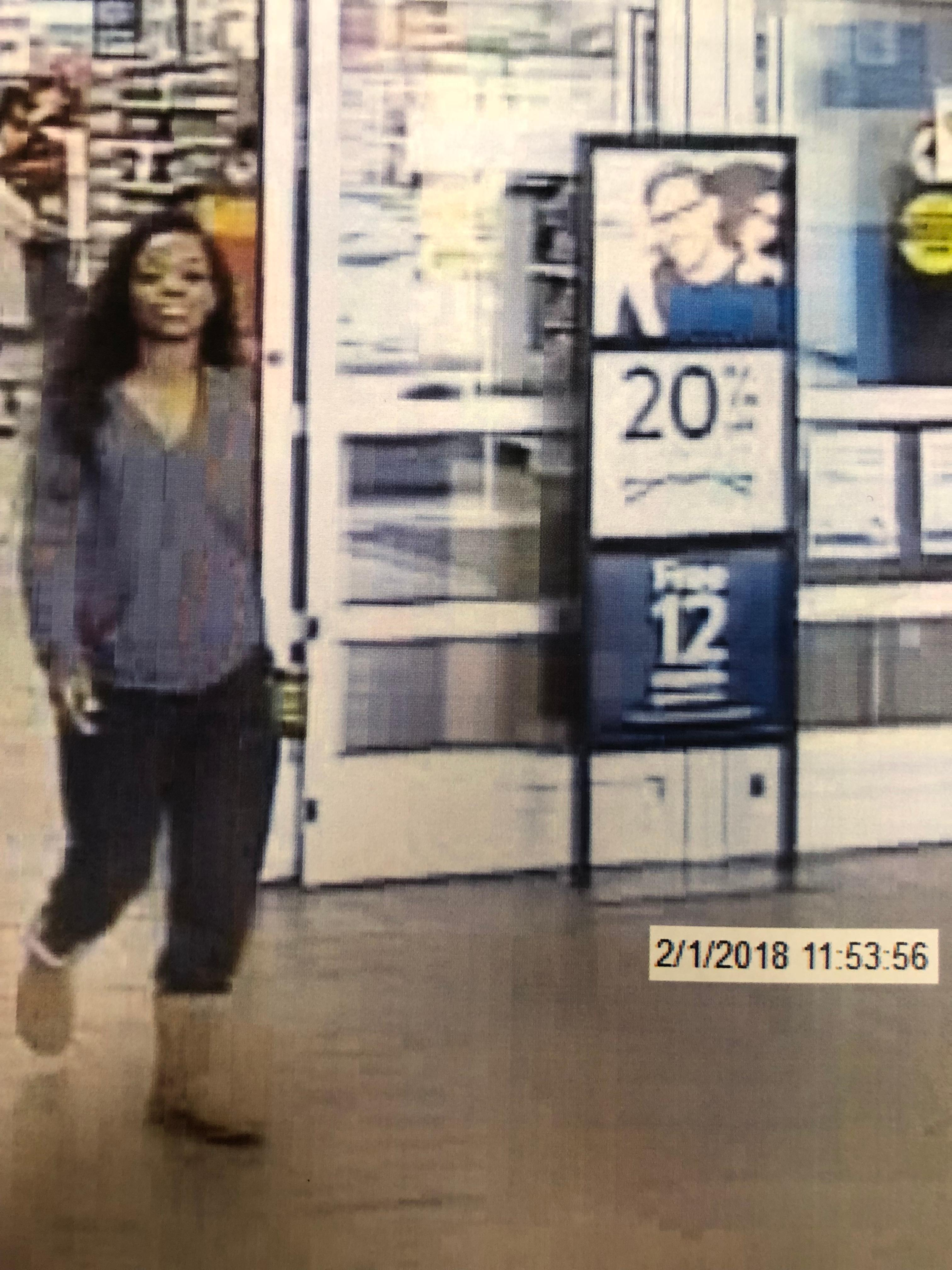 Police said the woman entered the Walmart around 12 p.m. on Thursday, February 1 and selected three Walmart gift cards, got the cashier to load $1,500 on them, and then left without paying (LPD)