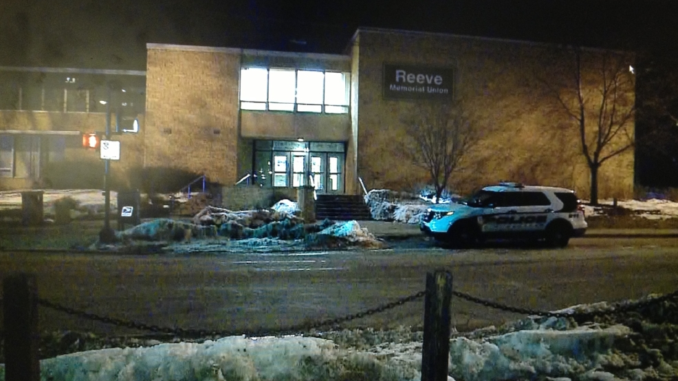 University of Wisconsin-Oshkosh police respond to Reeve Memorial Union for a report of a shot fired, March 8, 2014. (WLUK)