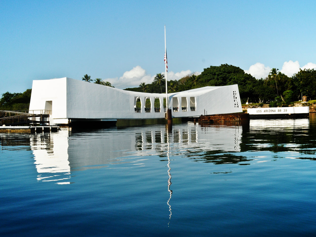 PHOTO: The USS Arizona Memorial which sits above the remains of the USS Arizona in Pearl Harbor, Hawaii., Photo Date: May 27, 2016 (MGN Online)